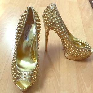Golden Studded Glitter Steve Madden Heels
